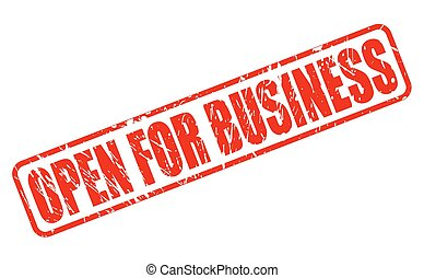 Open for business red stamp text on white