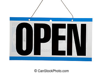 "Open for business sign - An ""Open"" sign on a door on a white..."