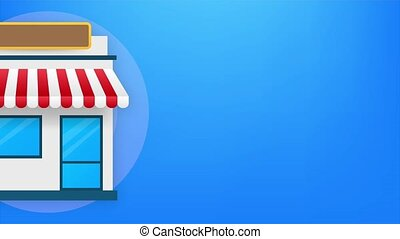 Open for business sign. Flat design for business financial marketing. Advertisement office. Stock fund commercial background in minimal concept cartoon illustration