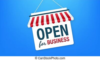 Open for business sign. Flat design for business financial marketing. Banking advertisement office stock fund commercial background in minimal concept