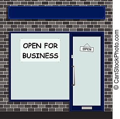 Small retail shop with poster in window informing customers that it is open for business serving the local community with blank sign for own text