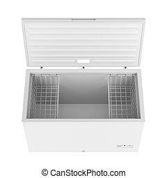 Open freezer isolated on white background