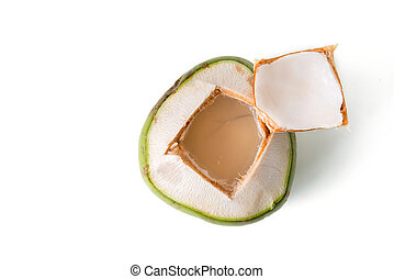 open fresh coconut isolated on white