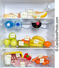Open fridge full of fruits, vegetables and meat with marked...