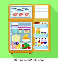 Open full fridge icon, flat style