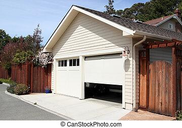 Open Garage - Open garage door in suburban house