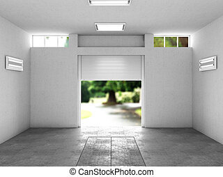 open garage with a view to the street. 3D illustration