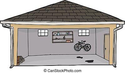 Open Garage with Log Pile - Hand drawn cartoon open garage...