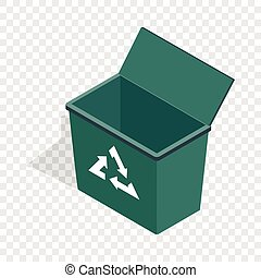Open garbage container with recycling sign icon