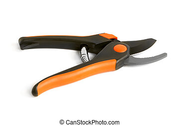Open garden pruning shears on a white background