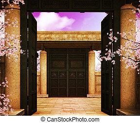 Open Gate Asian Backdrop