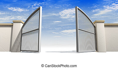 Open Gates And Wall - A solid garden wall with open metal...
