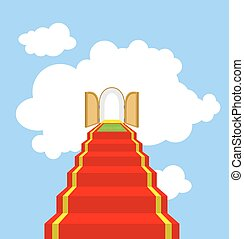 Open gates of paradise. Ladder into clouds. Degree in sky. Red carpet for ascent into paradise. Vector illustration of God's ladder. Acent to God, to Jesus.