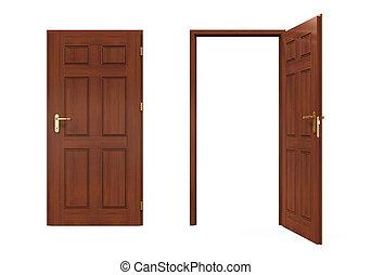 open, gesloten, deuren, vrijstaand