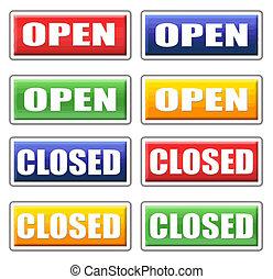 open, gesluitenene tekens