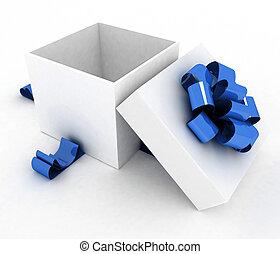 Open gift box. 3d illustration on a white.