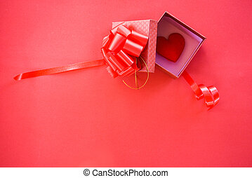 Open Gift Box and red heart in box surprise red present box with ribbon bow for gift Valentines day