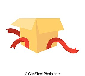 Open gift box isolated. holiday cardboard box Vector illustration