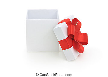 open gift box - Open empty gift box and red bow. Isolated.