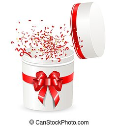 Open gift box round shape with red satin ribbon and Bow. Streamer ribbons confetti surprise fly out of the container. Isolated on white.