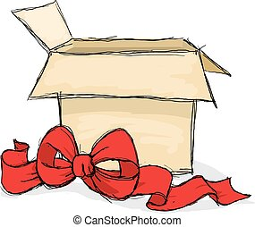open gift box - vector illustration