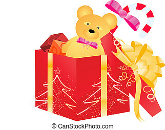 Open gift box with children toys