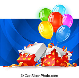 open gift box with color balloons