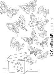 open gift box with flying butterflies for your coloring page