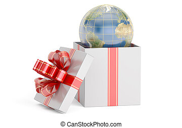 Open gift box with globe, 3D rendering
