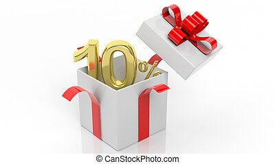 Open gift box with gold 10 percent number in it, isolated on...
