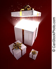 Open gift box with magic inside - Glowing particles flowing ...