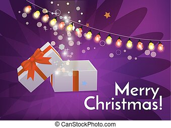 Open gift box with Merry Christmas text