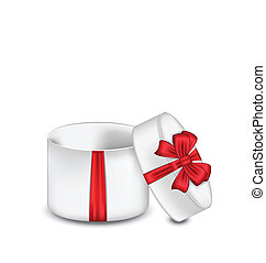 Open gift box with red bow isolated on white background -...