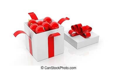 Open gift box with red ribbon full of Christmas balls isolated on white