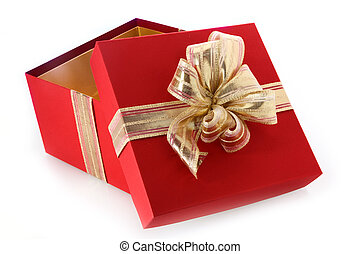 Open gift box with tilted lid and gold bow