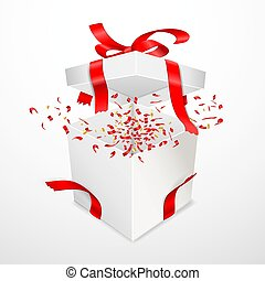 Open gift box with torn red satin ribbon. Bow and Confetti flying out of surprise. Isolated on white.