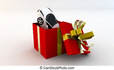 Open gift with a car - Open red gift with inside a new white...