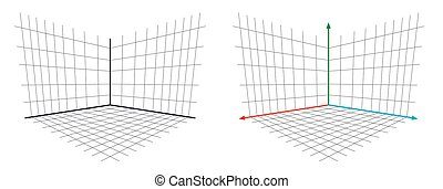 Open GL Projection Matrix perspective 3d axis vector illustration