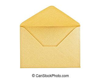 Open golden envelope on white background, close up, studio...