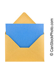 Open golden envelope, with blue sheet inside, isolated,...