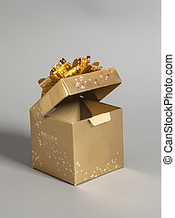 Open Golden gift box with golden ribbon