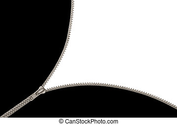 open gray zip in black white background