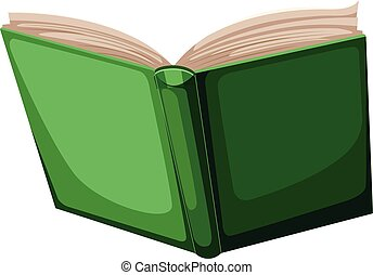 Open green book on white