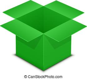 Open green box on white