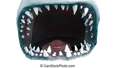 open, haai, mond, closeup, met, jagged, teeth