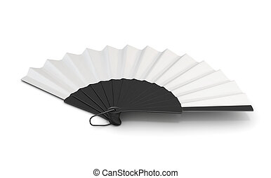 Open hand fan isolated. 3d illustration.