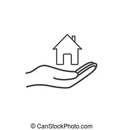 Open hand icon with home icon. Vector illustration. Flat design.