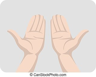 Open hand. Isolated vector illustration on a gray background