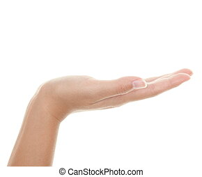 Open hand palm - Empty hand palm showing your product. ...