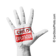 Open hand raised, Child Exploitation sign painted, multi purpose